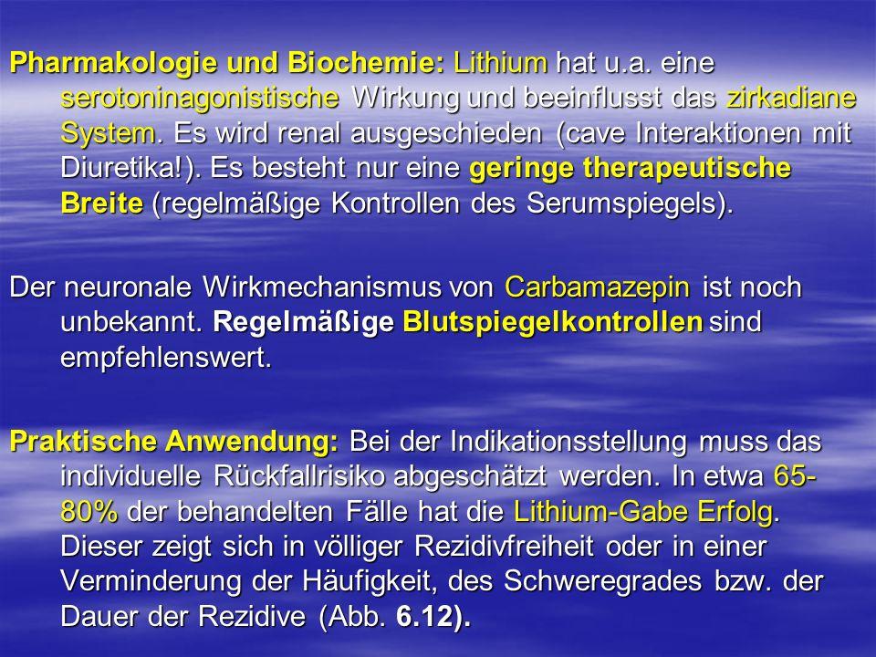 Pharmakologie und Biochemie: Lithium hat u. a