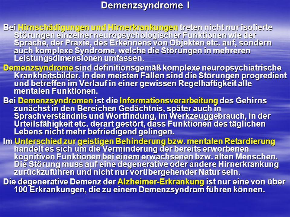 Demenzsyndrome I