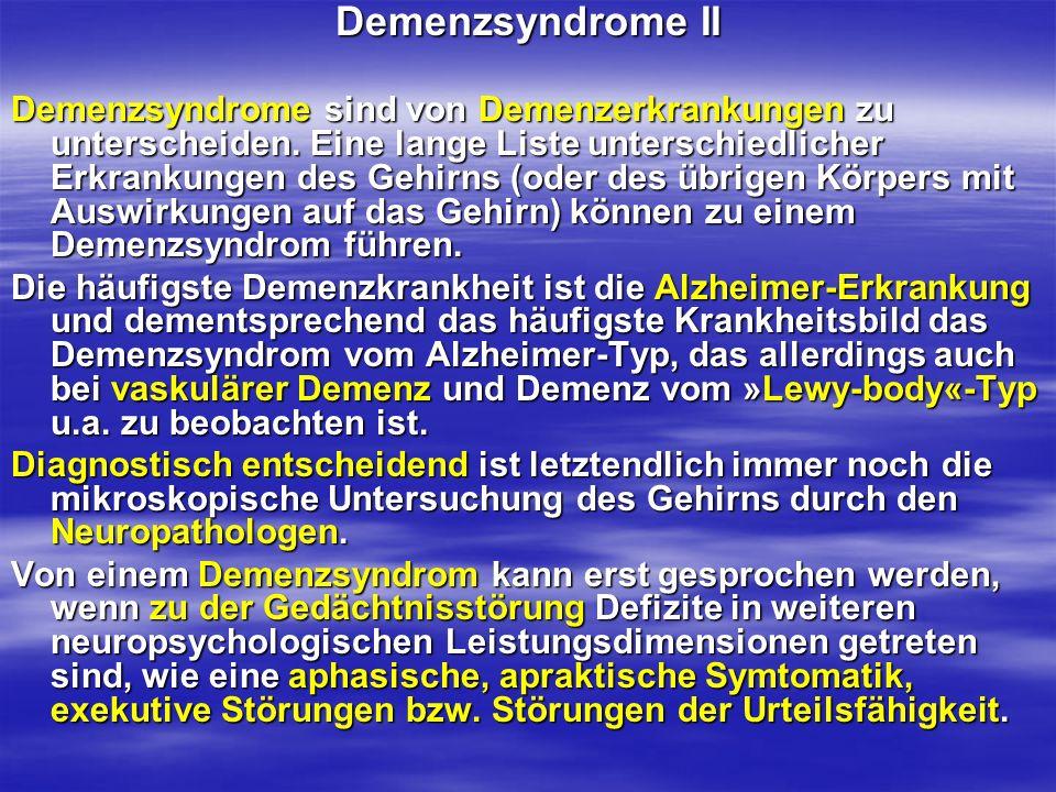 Demenzsyndrome II