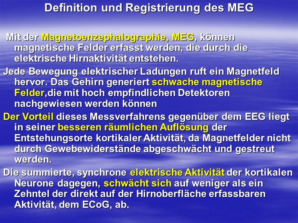 Definition und Registrierung des MEG