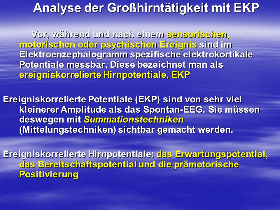 Analyse der Großhirntätigkeit mit EKP