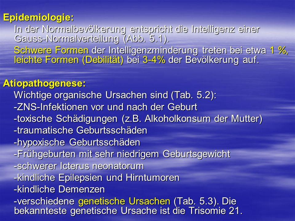 Epidemiologie: In der Normalbevölkerung entspricht die Intelligenz einer Gauss-Normalverteilung (Abb. 5.1).
