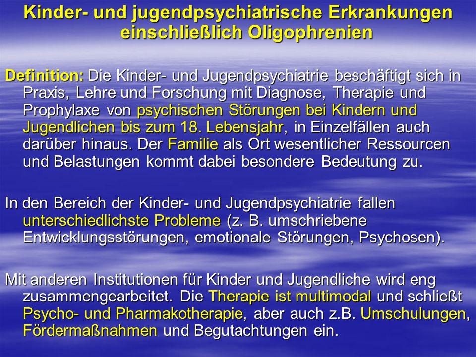 Kinder- und jugendpsychiatrische Erkrankungen einschließlich Oligophrenien