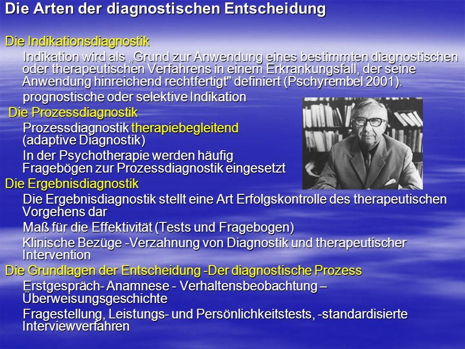 Die Arten der diagnostischen Entscheidung