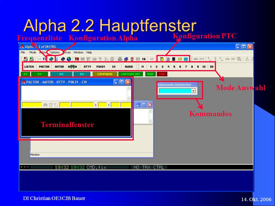 Alpha 2.2 Hauptfenster Konfiguration PTC Frequenzliste