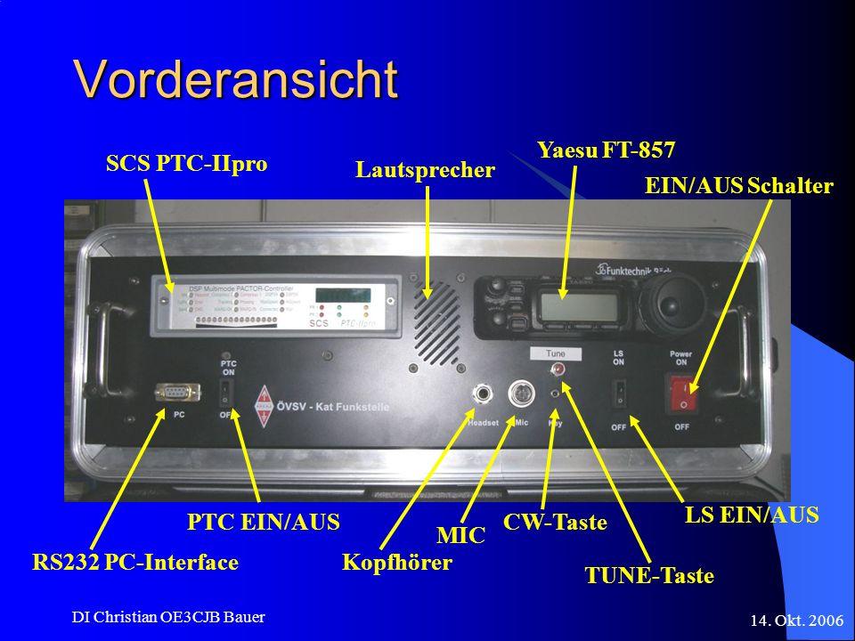 Vorderansicht Yaesu FT-857 SCS PTC-IIpro Lautsprecher EIN/AUS Schalter