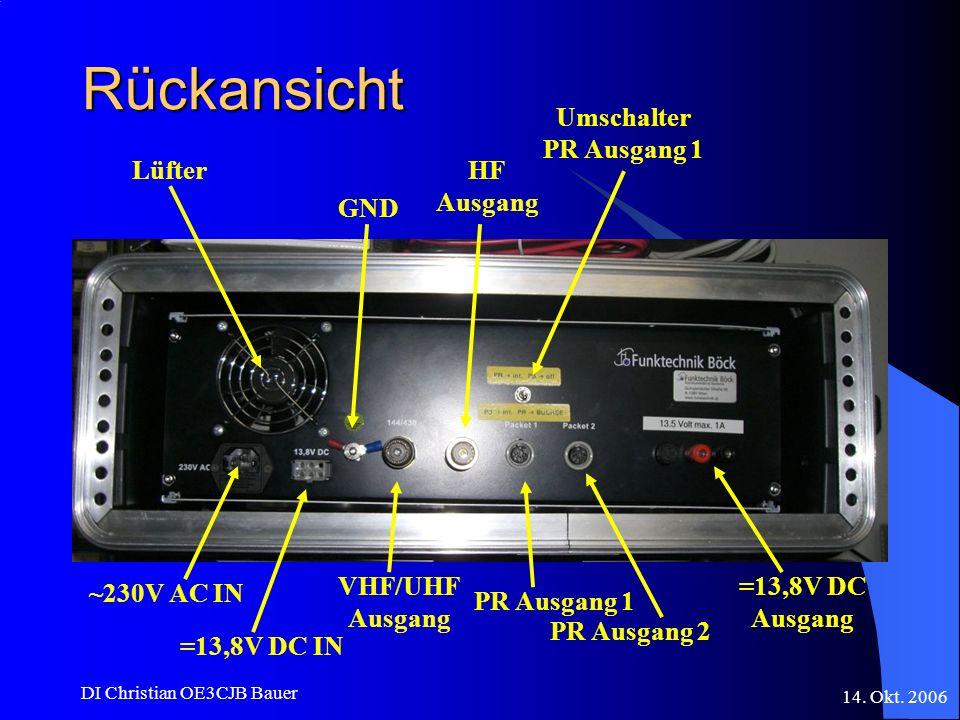 Rückansicht Umschalter PR Ausgang 1 Lüfter HF Ausgang GND ~230V AC IN