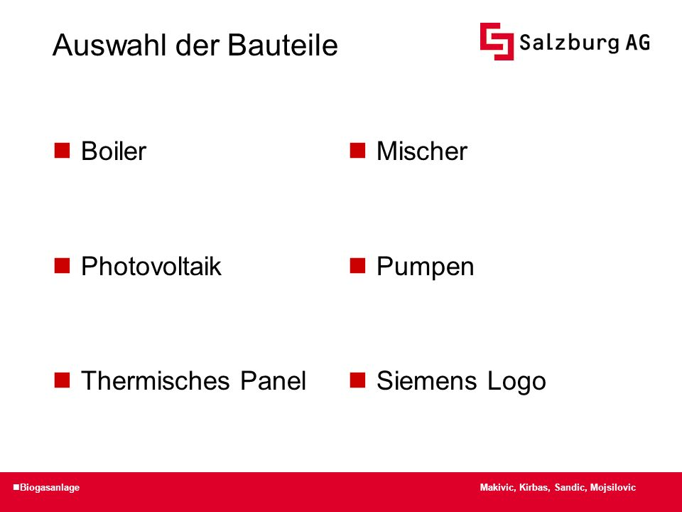 Auswahl der Bauteile Boiler Photovoltaik Thermisches Panel Mischer