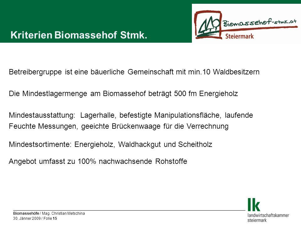 Kriterien Biomassehof Stmk.