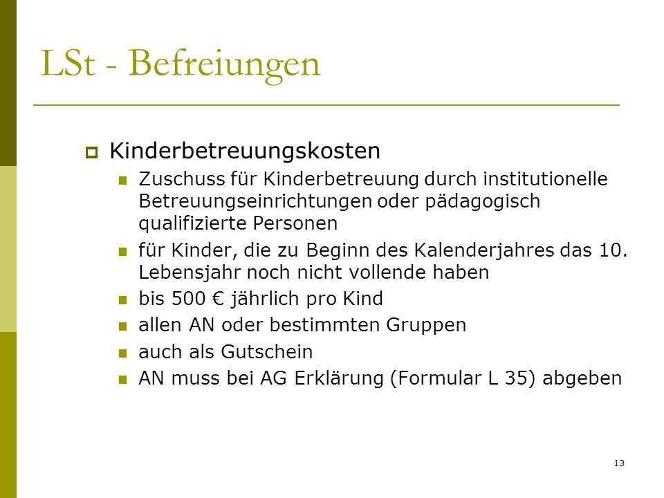 LSt - Befreiungen Kinderbetreuungskosten