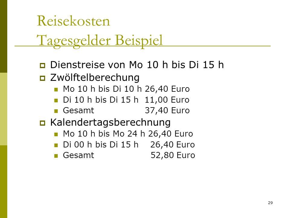 Reisekosten Tagesgelder Beispiel