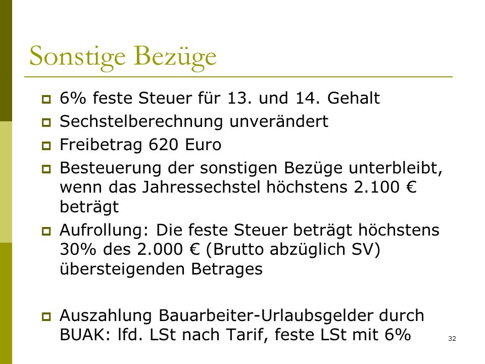 Sonstige Bezüge 6% feste Steuer für 13. und 14. Gehalt