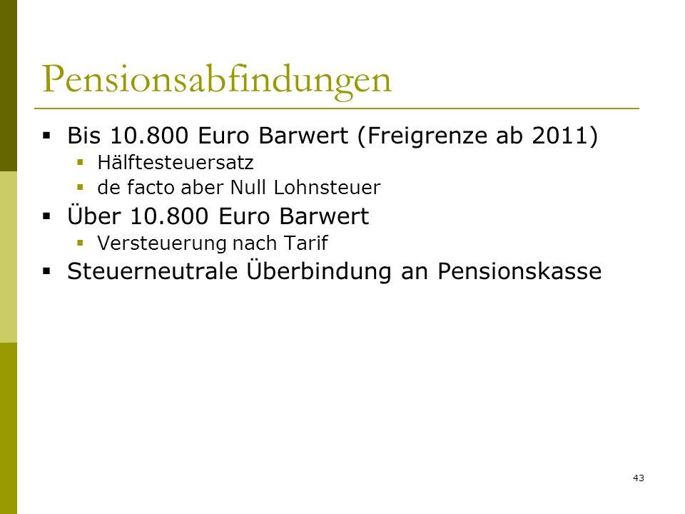 Pensionsabfindungen Bis 10.800 Euro Barwert (Freigrenze ab 2011)