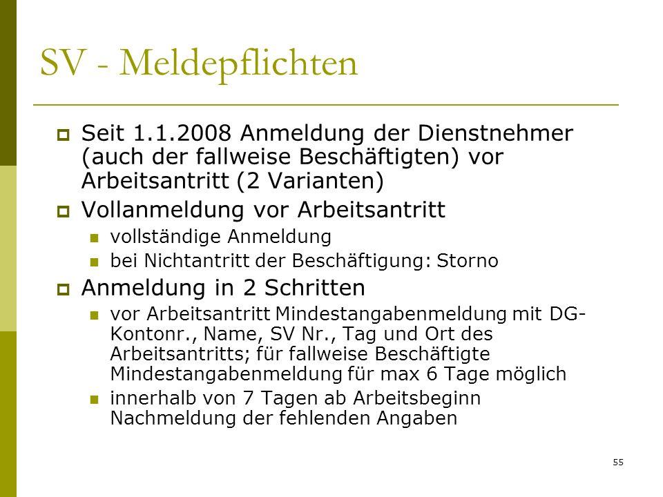 SV - Meldepflichten Seit 1.1.2008 Anmeldung der Dienstnehmer (auch der fallweise Beschäftigten) vor Arbeitsantritt (2 Varianten)