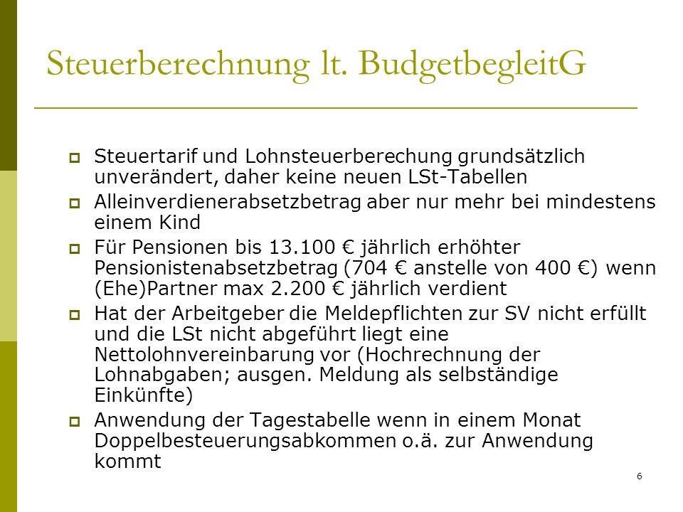 Steuerberechnung lt. BudgetbegleitG