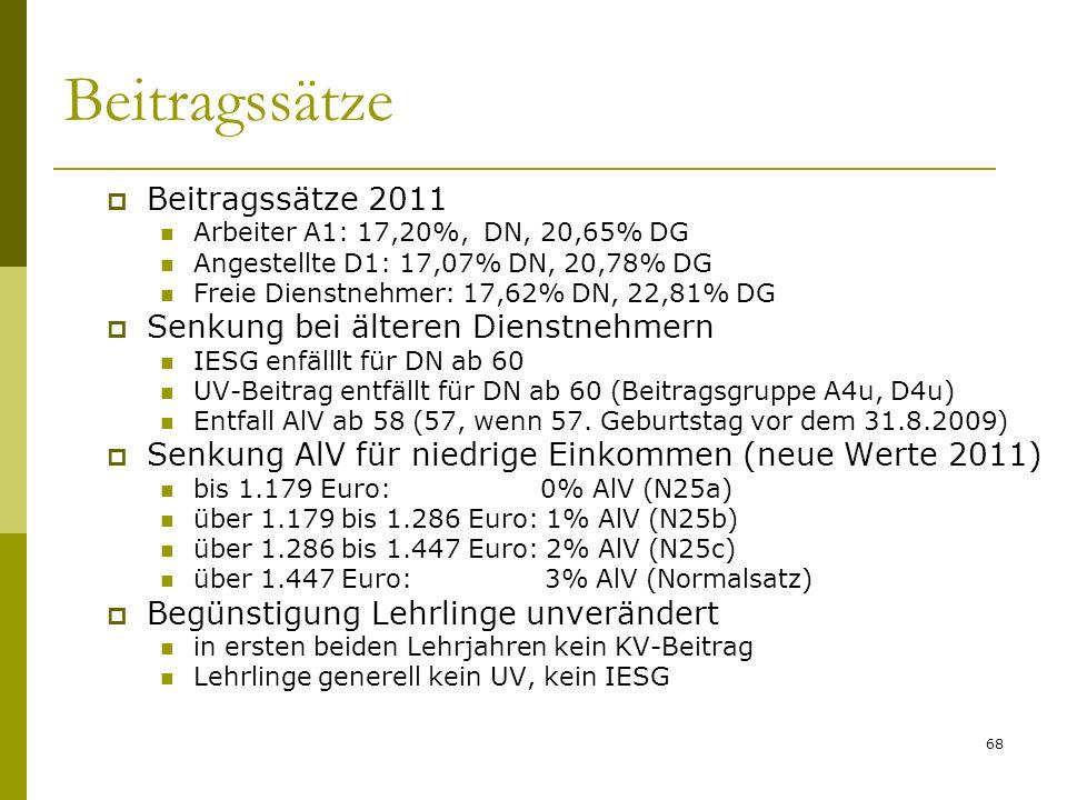 Beitragssätze Beitragssätze 2011 Senkung bei älteren Dienstnehmern