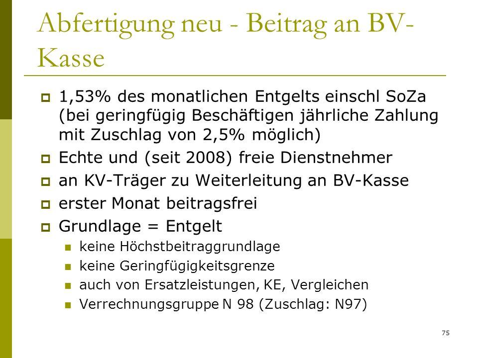 Abfertigung neu - Beitrag an BV-Kasse