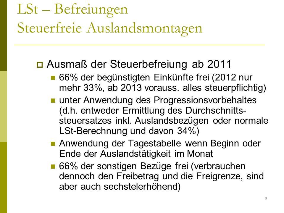 LSt – Befreiungen Steuerfreie Auslandsmontagen