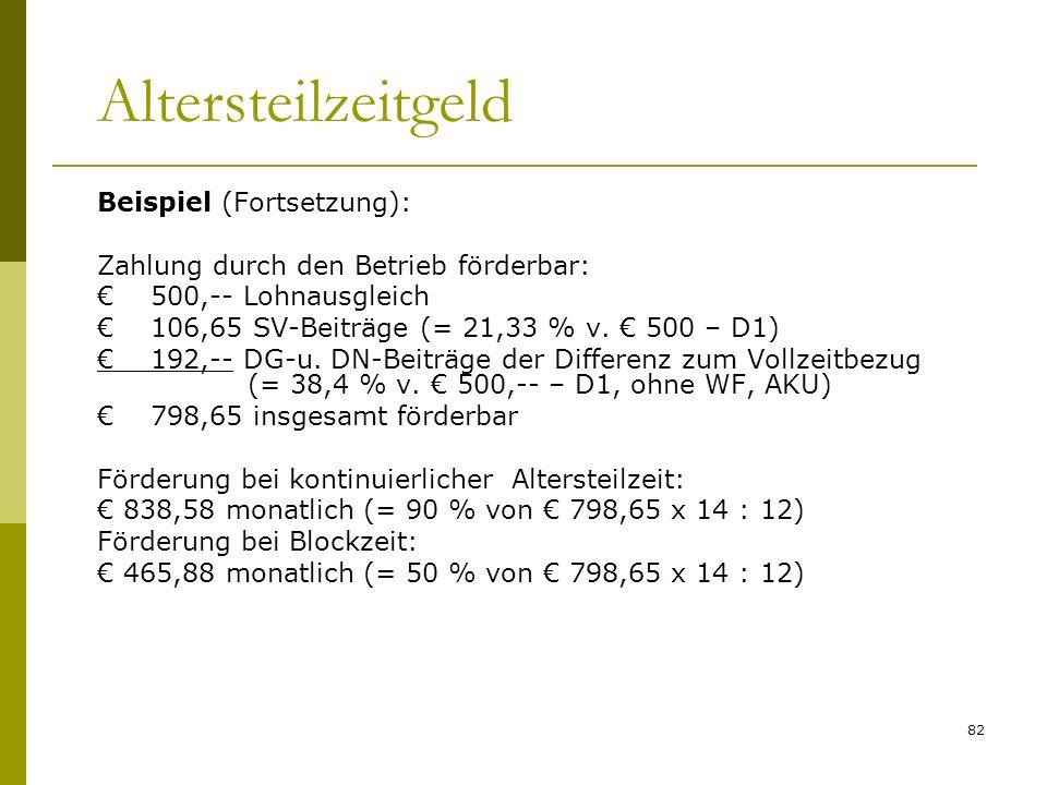 Altersteilzeitgeld Beispiel (Fortsetzung):