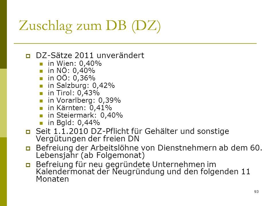 Zuschlag zum DB (DZ) DZ-Sätze 2011 unverändert