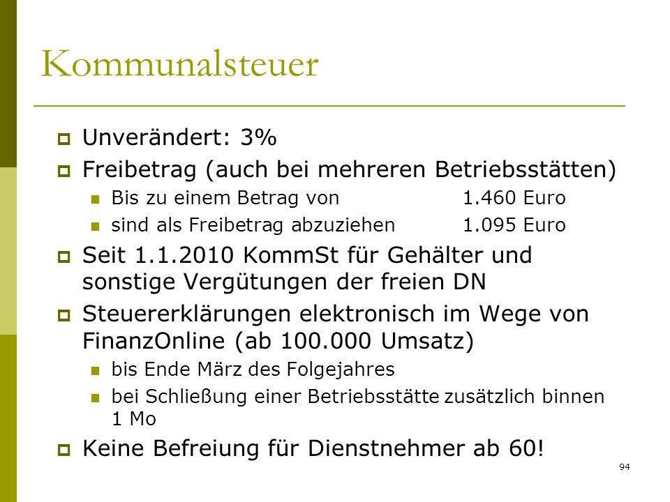 Kommunalsteuer Unverändert: 3%
