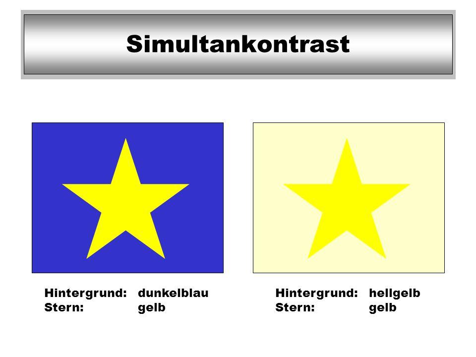 Simultankontrast Hintergrund: dunkelblau Stern: gelb