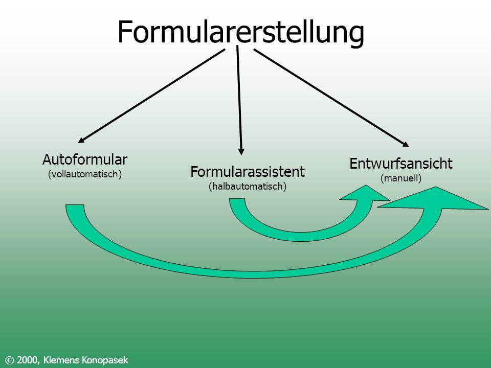 Formularerstellung Autoformular Entwurfsansicht Formularassistent