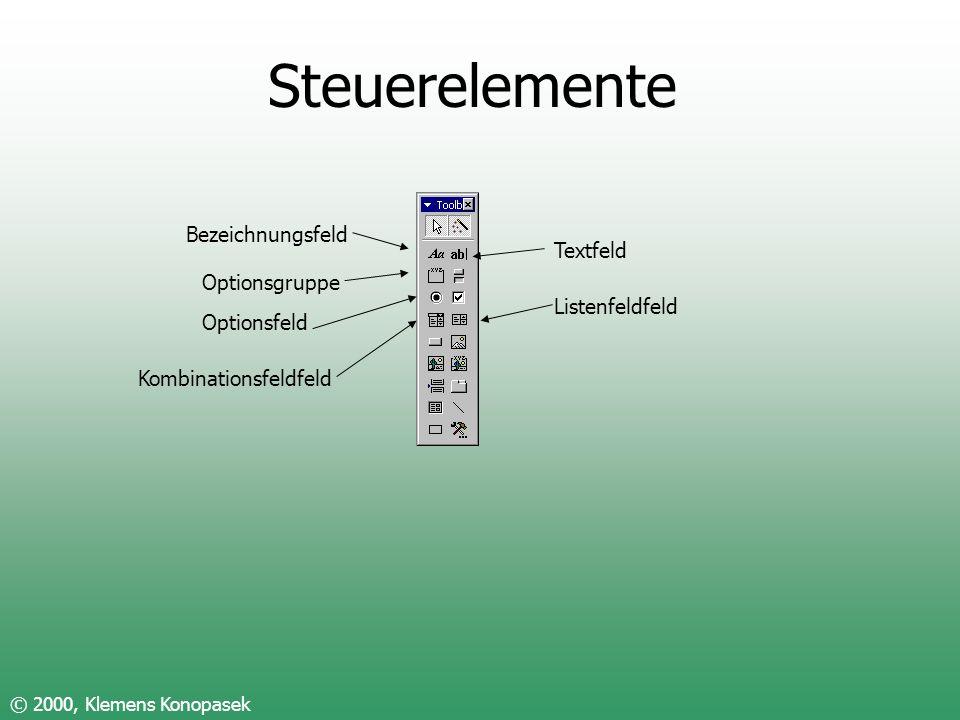 Steuerelemente Bezeichnungsfeld Textfeld Optionsgruppe Listenfeldfeld
