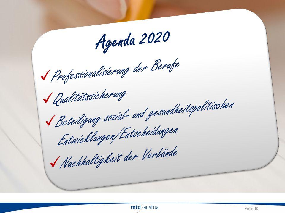 Agenda 2020 Professionalisierung der Berufe Qualitätssicherung