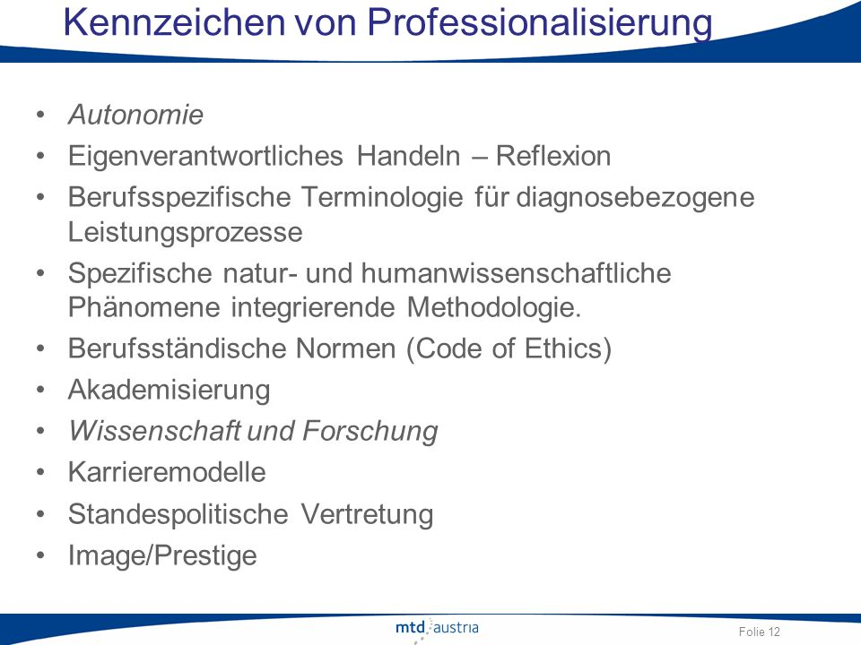 Kennzeichen von Professionalisierung
