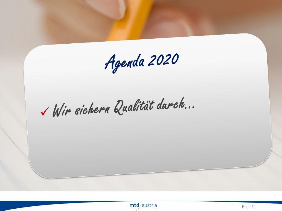 Agenda 2020 Wir sichern Qualität durch…