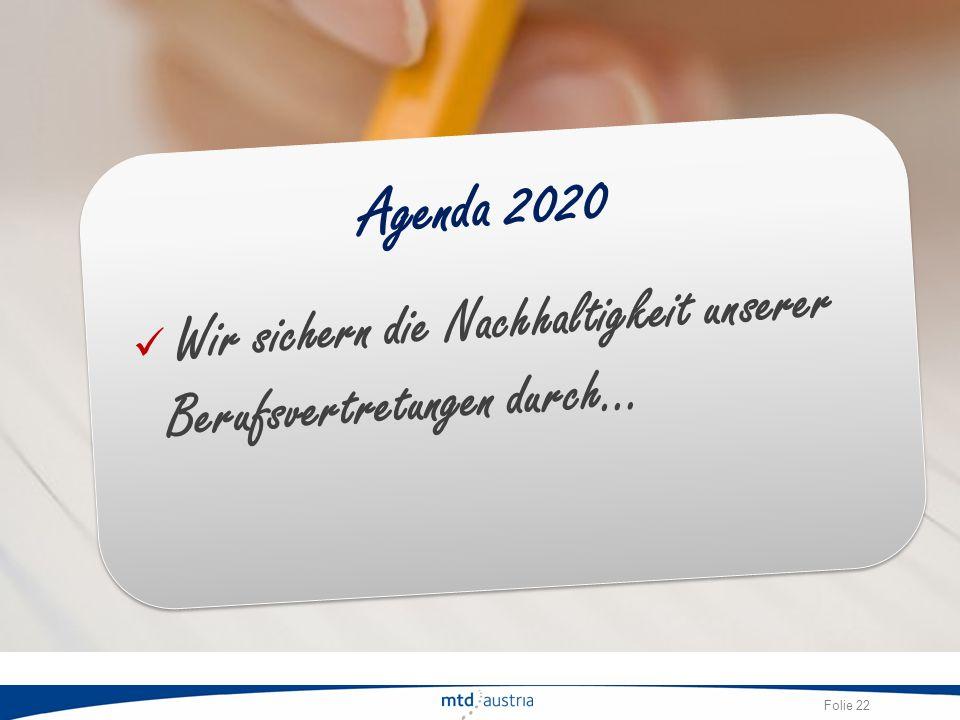 Agenda 2020 Wir sichern die Nachhaltigkeit unserer Berufsvertretungen durch…