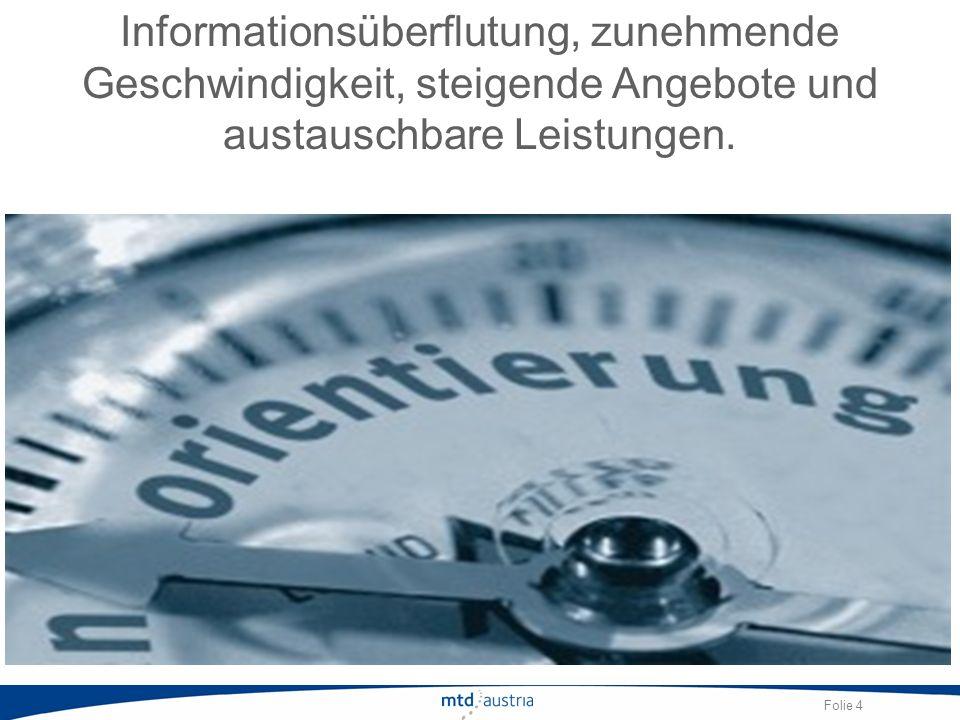 Informationsüberflutung, zunehmende Geschwindigkeit, steigende Angebote und austauschbare Leistungen.