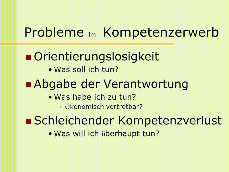 Probleme im Kompetenzerwerb