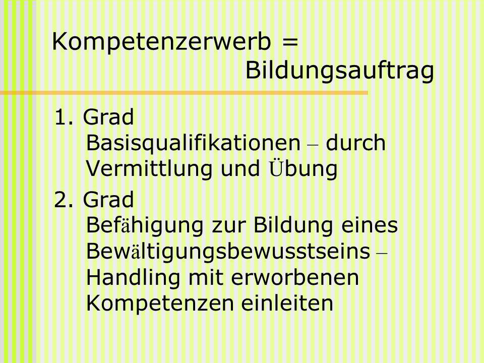 Kompetenzerwerb = Bildungsauftrag