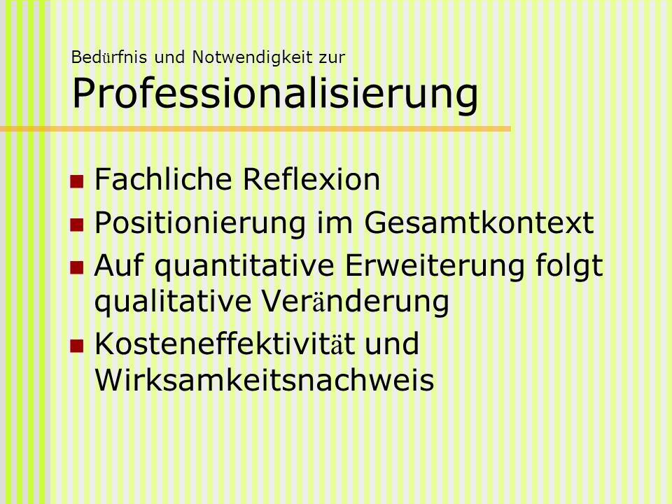 Bedürfnis und Notwendigkeit zur Professionalisierung