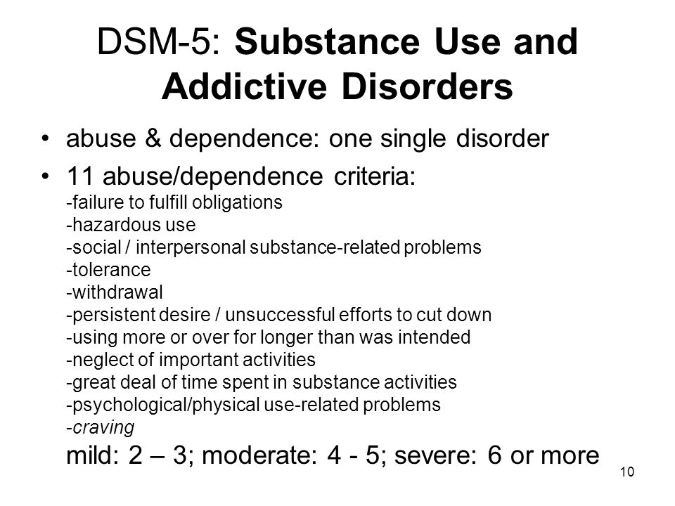 DSM-5: Substance Use and Addictive Disorders