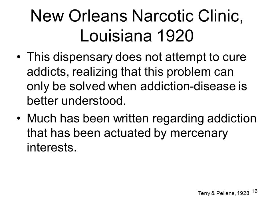 New Orleans Narcotic Clinic, Louisiana 1920