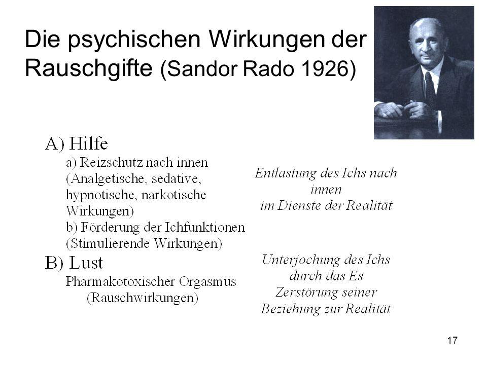 Die psychischen Wirkungen der Rauschgifte (Sandor Rado 1926)