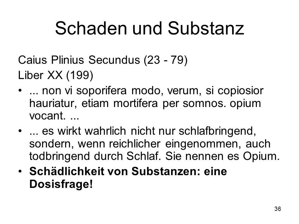 Schaden und Substanz Caius Plinius Secundus (23 - 79) Liber XX (199)