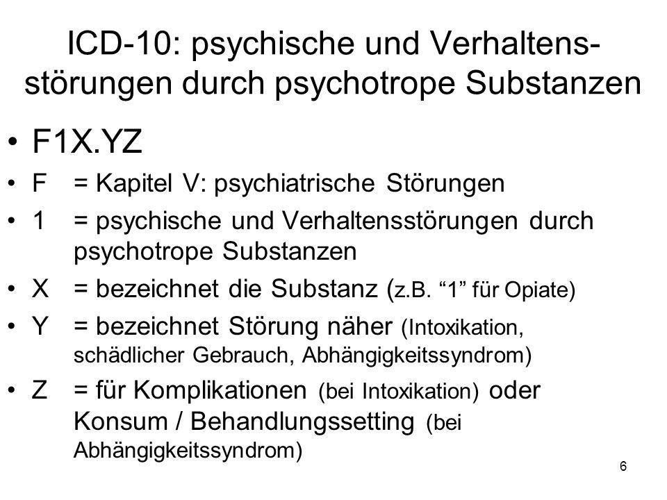 ICD-10: psychische und Verhaltens-störungen durch psychotrope Substanzen