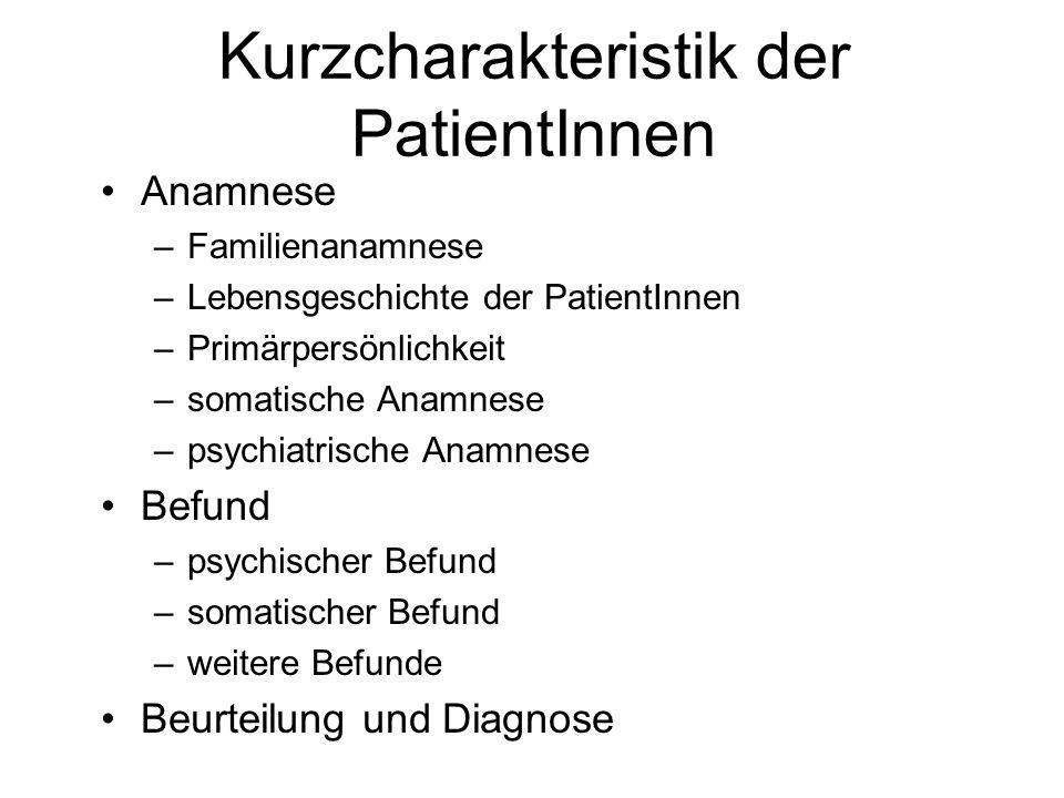Kurzcharakteristik der PatientInnen