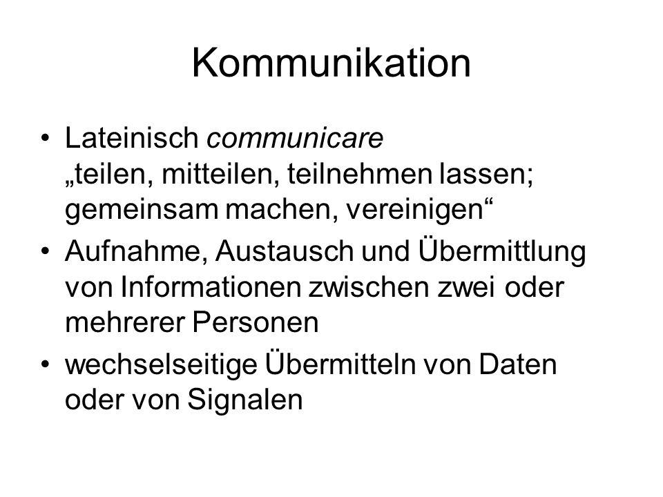 """Kommunikation Lateinisch communicare """"teilen, mitteilen, teilnehmen lassen; gemeinsam machen, vereinigen"""