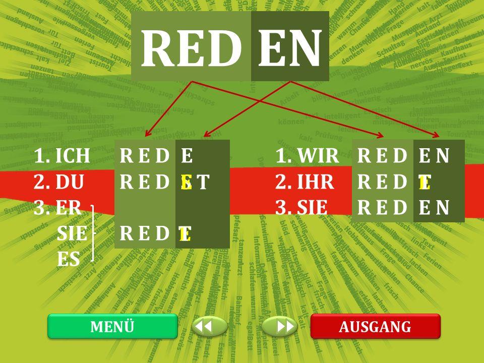 RED EN 1. ICH 2. DU 3. ER SIE ES R E D E 1. WIR 2. IHR 3. SIE R E D