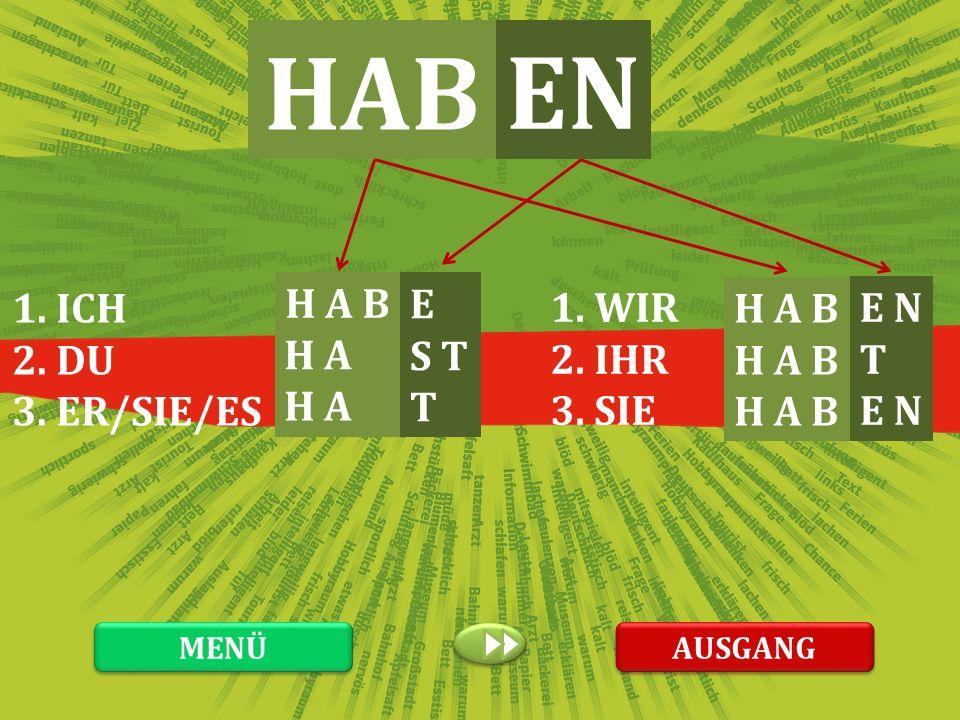 HAB EN 1. ICH 2. DU 3. ER/SIE/ES H A B H A H A E S T T 1. WIR 2. IHR