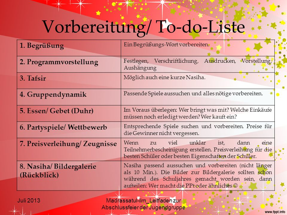 Vorbereitung/ To-do-Liste