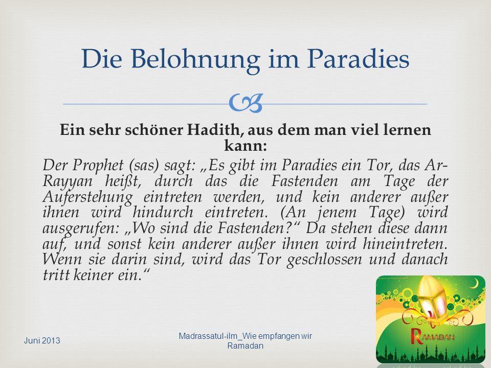 Die Belohnung im Paradies