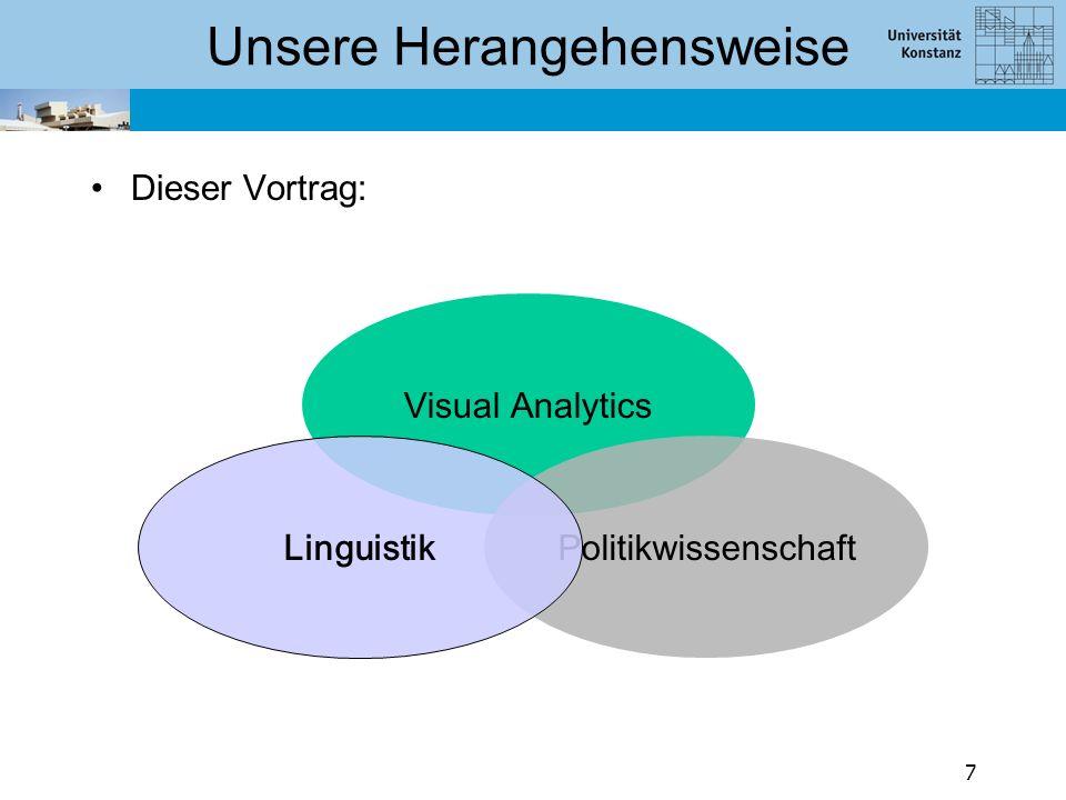 Linguistik Tiefe automatische Analyse von Diskurs (fürs Englische vgl. Prasad et al. 2008) Verschiedene Ebenen der Diskursanalyse (u.a.):