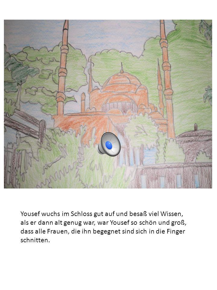 Yousef wuchs im Schloss gut auf und besaß viel Wissen, als er dann alt genug war, war Yousef so schön und groß, dass alle Frauen, die ihn begegnet sind sich in die Finger schnitten.