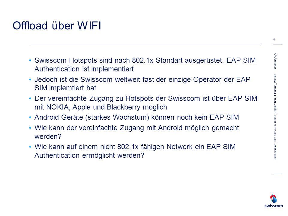 Offload über WIFI Swisscom Hotspots sind nach 802.1x Standart ausgerüstet. EAP SIM Authentication ist implementiert.